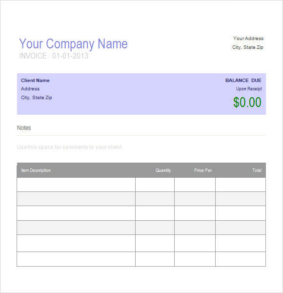 standard invoice template .