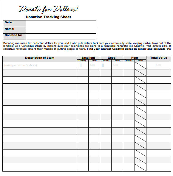 donation sheet template