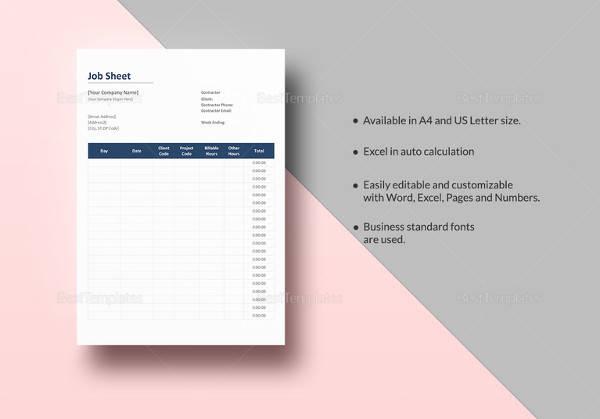 job sheet template to print