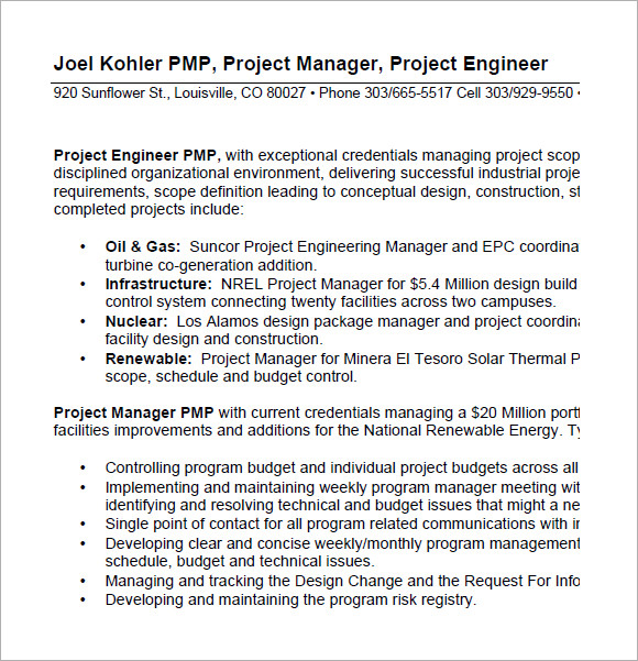 project manager resume format pdf - Project Manager Resume Format