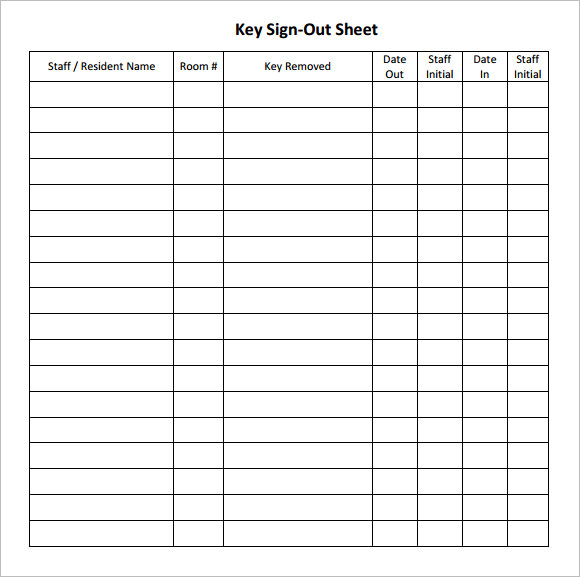 key sign out sheet template free download