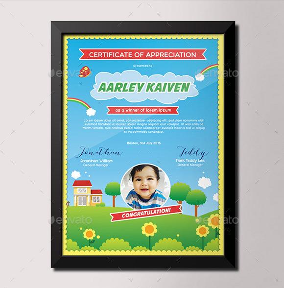 kids certificates