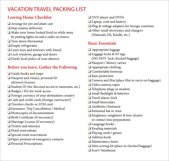 sample vacation checklist 6 example format. Black Bedroom Furniture Sets. Home Design Ideas