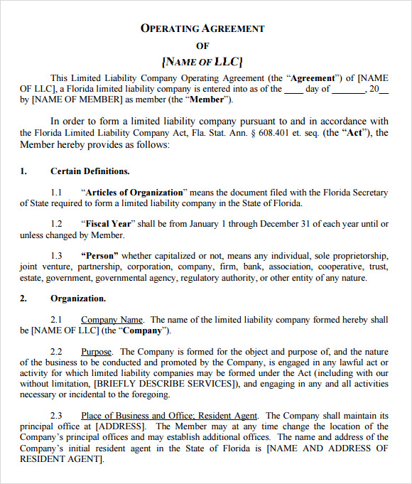 Llc operating agreement 8 download free documents in pdf word llc operating agreement free platinumwayz