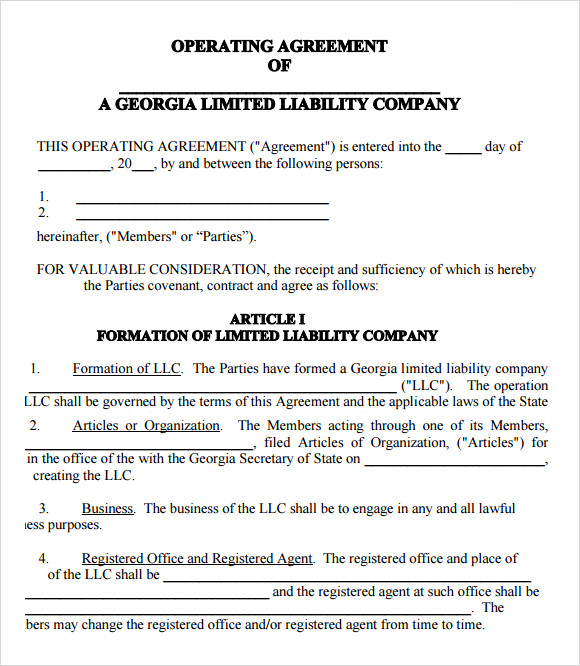 9 sample llc operating agreement templates to download for Articles of partnership template