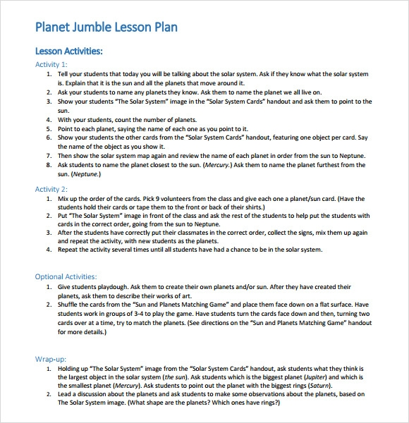 lesson template for teachers