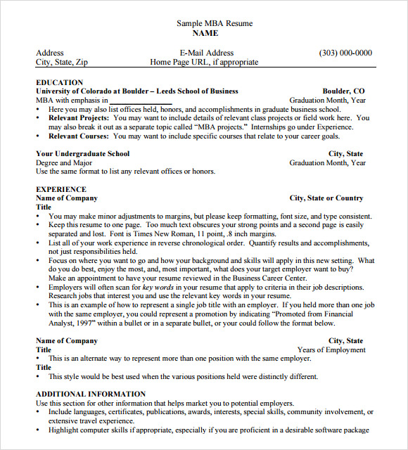 FREE 8+ MBA Resume Templates In PDF