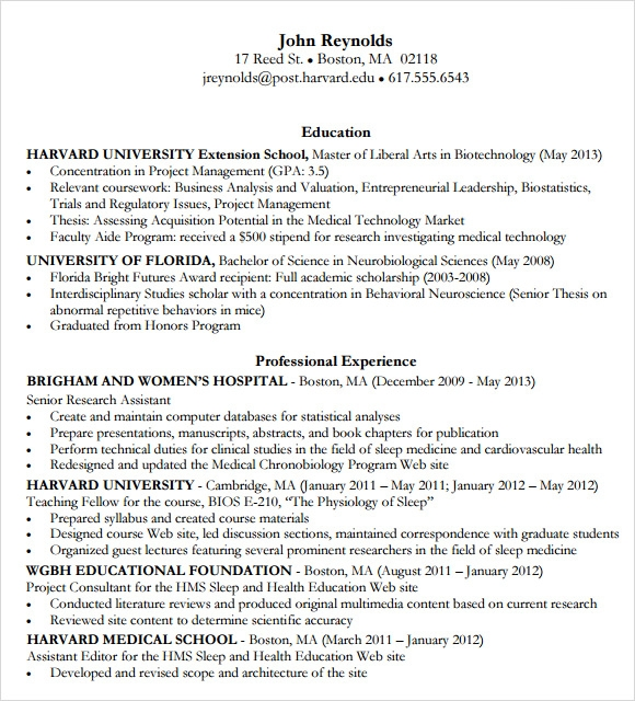 mba resume template harvard