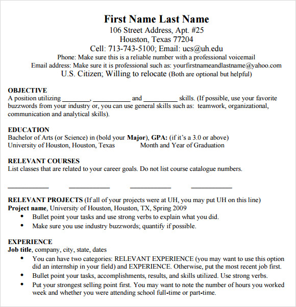 Mba Resume Template | Resume Format Download Pdf