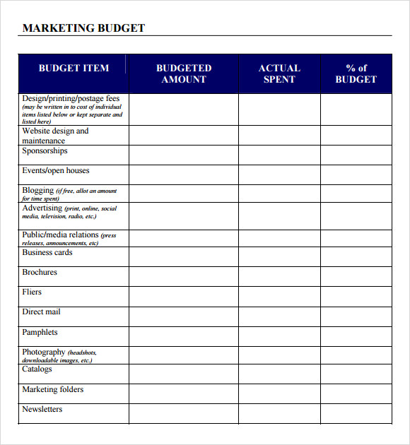 Marketing Budget Template 2015