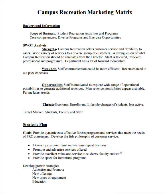 marketing matrix template1