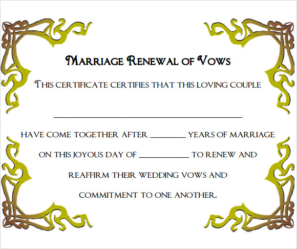 marriage certificate template example