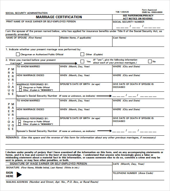 marriage certification template