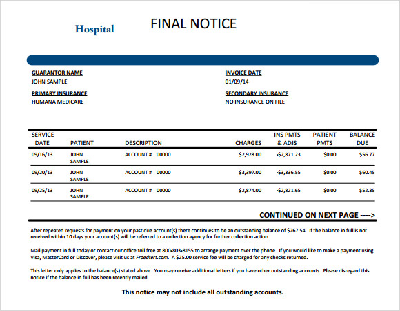 Sample Medical Invoice | Medical Invoice Template 8 Free Samples Examples Format