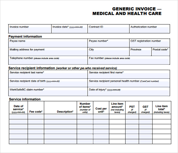 Medical Invoice Template 8 Free Samples Examples Format – Medical Receipt Template