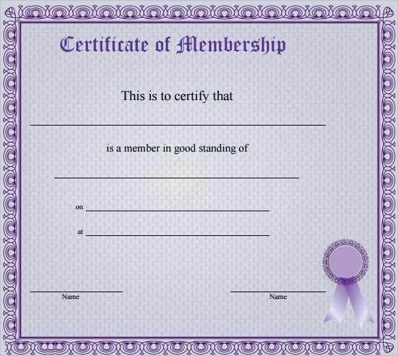 membership certificate template free download