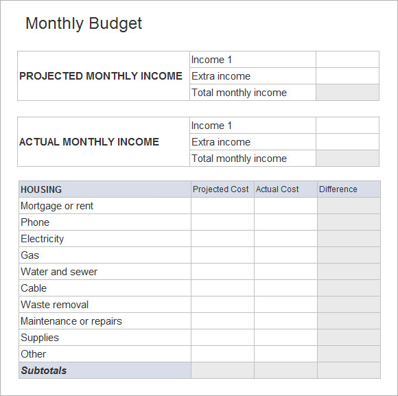 Budget Spreadsheet Template   Free Samples Examples Format