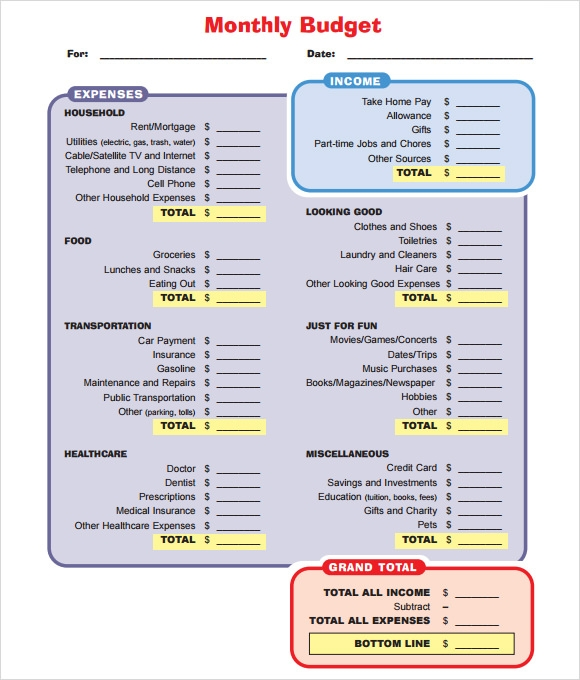 monthly budget template1