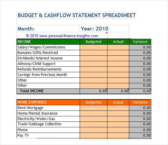 Monthly Budget And Cashflow Excel