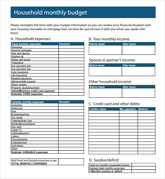 Monthly Budget Template - 9+ Free Samples , Examples , Format