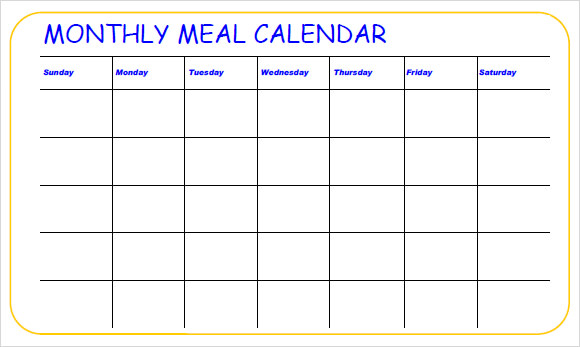 11 meal planning samples sample templates for Monthly dinner calendar template