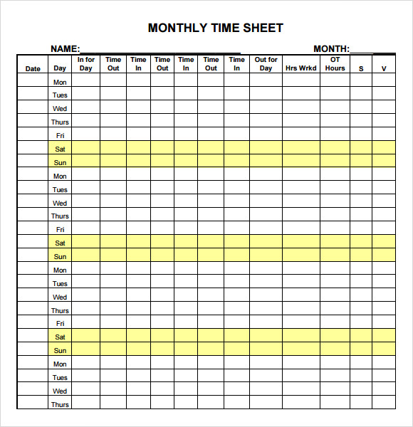 Sample Time Sheet 10 Example Format – Time Card Template Free