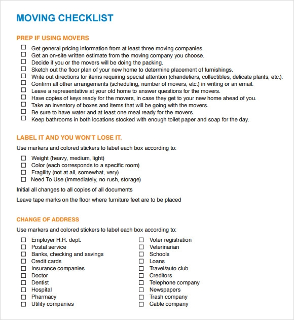 image regarding Printable Moving Checklist referred to as Free of charge 12+ Shifting Record Templates inside Google Docs MS Term