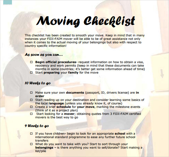 Sample Moving Checklist Moving Checklist Great Moving Checklists