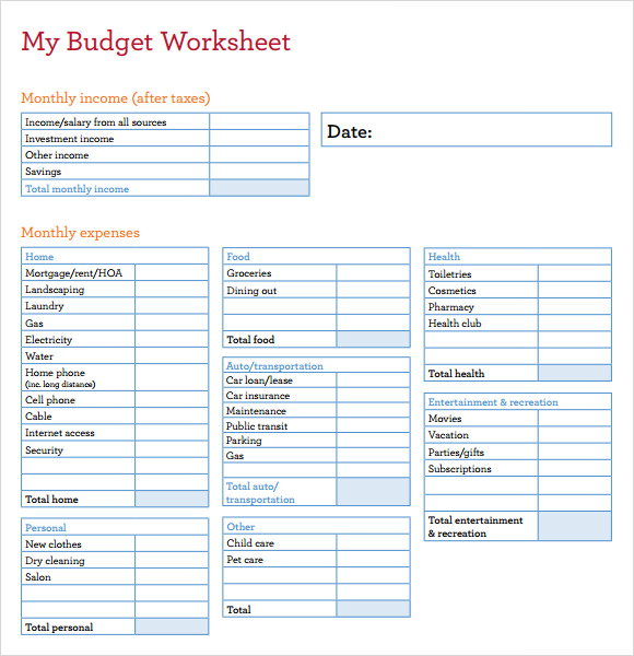 my budget worksheet template