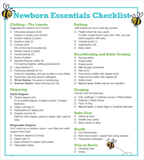 Sample Newborn Checklist Newborn Checklist Free Printable New Baby