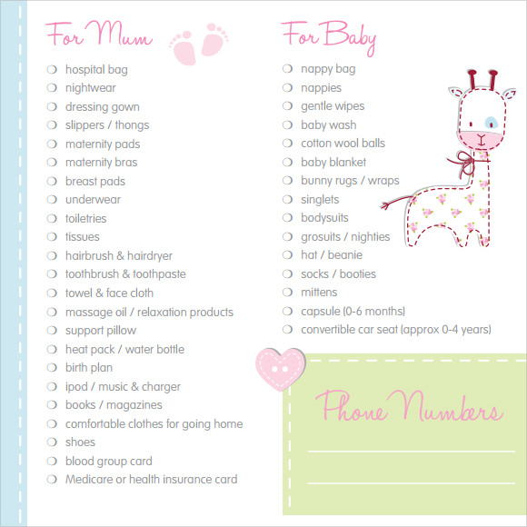 Sample Newborn Checklist - 8+ Free Documents Download in PDF, Word