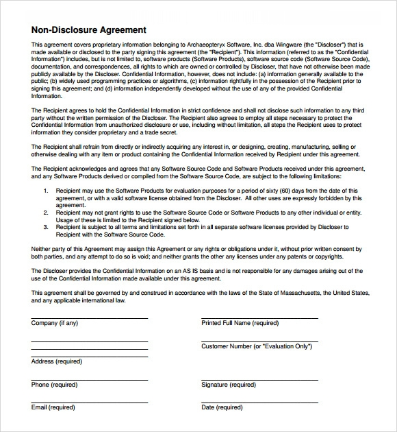 8 sample non disclosure agreements sample templates
