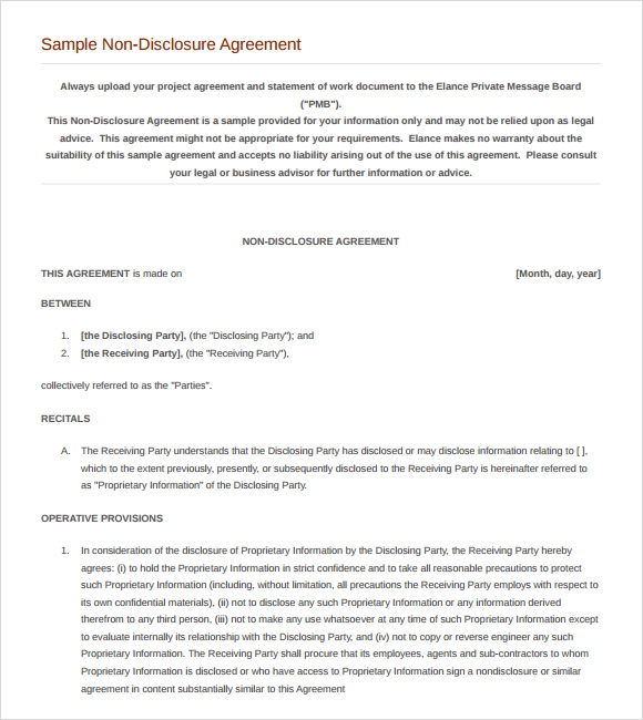 8 sample non disclosure agreements sample templates for Nda template word document