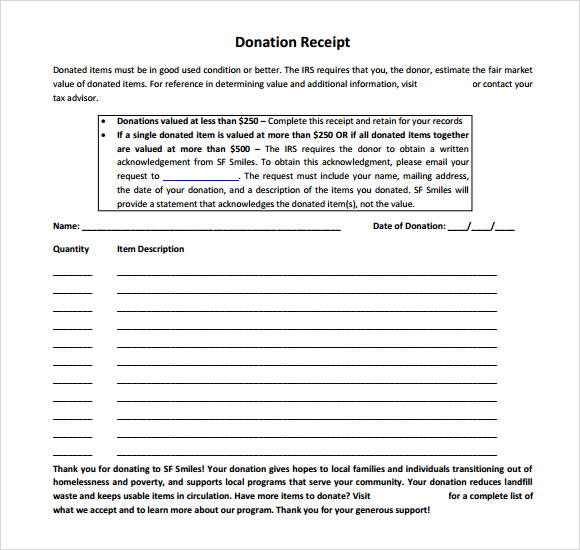 9 Donation Receipt Templates Free Samples Examples Format – Donation Slip Sample