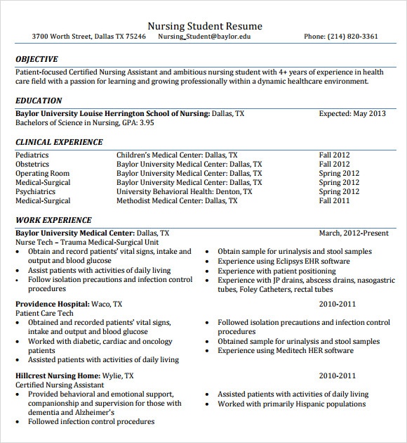 Nursing Resume 8 Free Samples Resumes Format – Nursing Student Resume