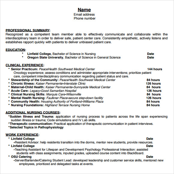 9 nursing resume templates  u2013 free samples   examples