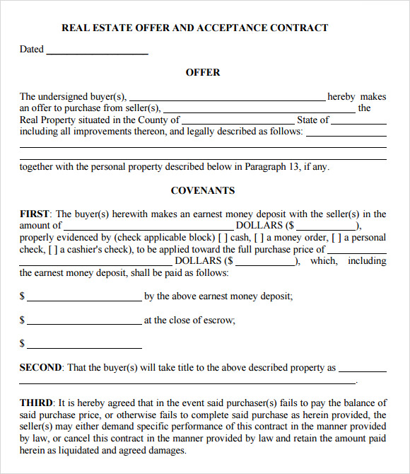 Sample Offer to Purchase Real Estate Form 9 Documents in PDF – Real Estate Purchase Agreement Template Free