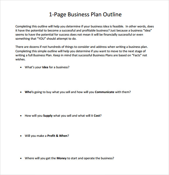 OnePage Business Plan Sample   Documents In Pdf