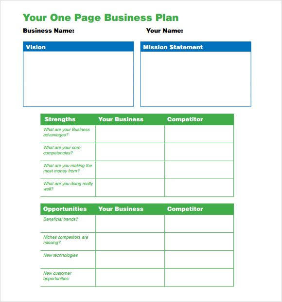 one page business plan template 10 download free. Black Bedroom Furniture Sets. Home Design Ideas