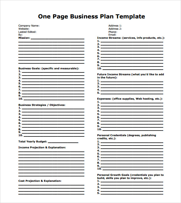 10 one page business plan samples sample templates flashek Images