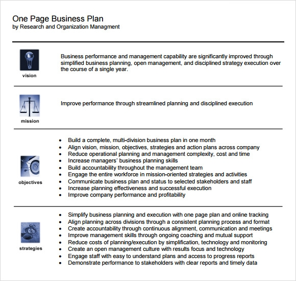 10 one page business plan samples sample templates one page business plan flashek Choice Image