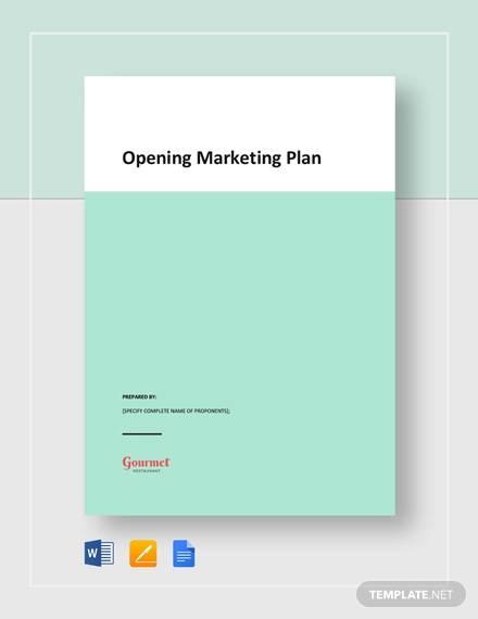 opening marketing plan template