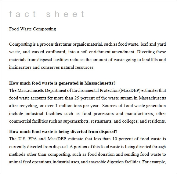 Fact Sheet Template   Download Documents In Pdf  Word