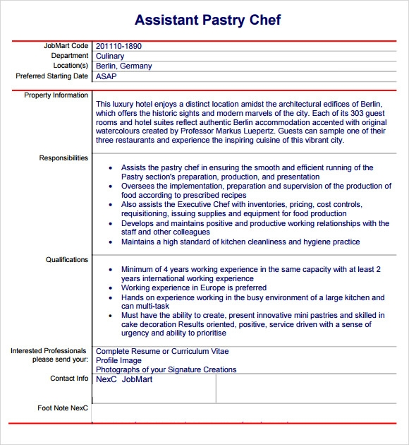 pastry chef resume template cook assistant cv example executive sample
