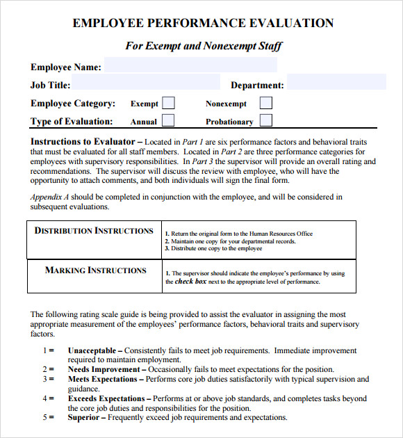 Performance Evaluation Templates – Free Samples , Examples ...