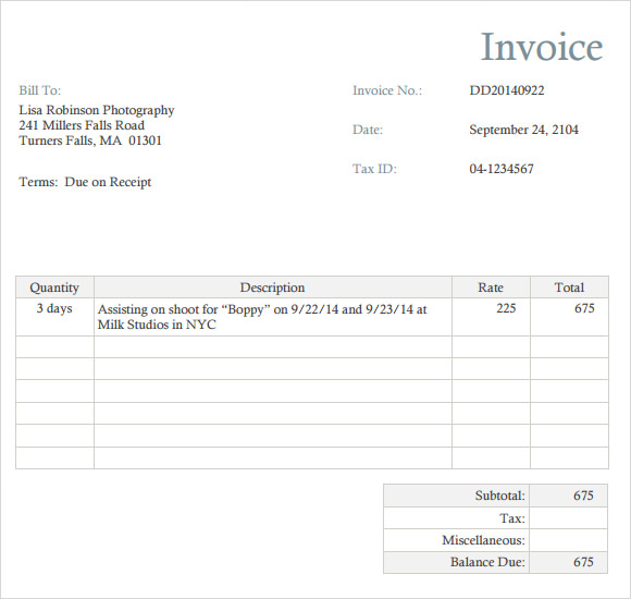 Simple Photography Invoice Template – Robinhobbs.Info