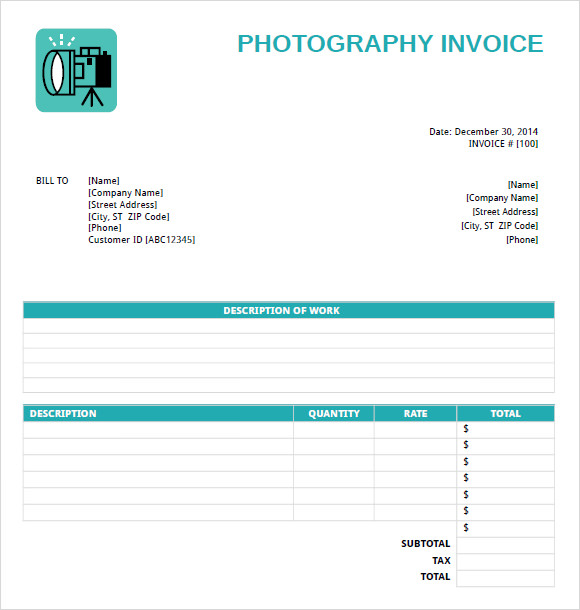 Photography Invoice Template   Free Samples Examples Format