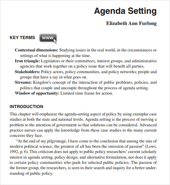 Sample Political Agenda   Example Format