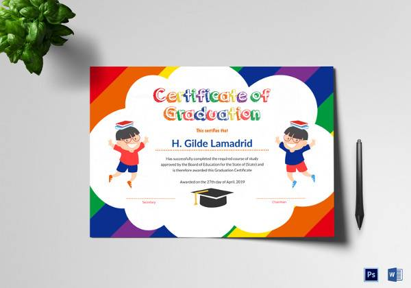 pre school graduation certificate template