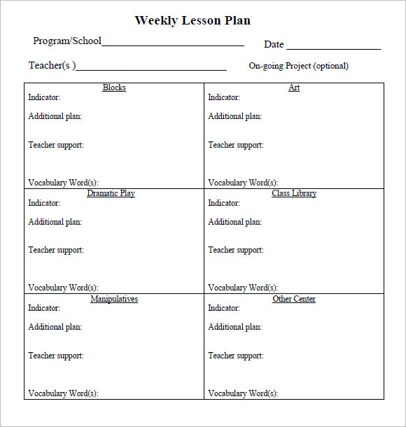 Sample Weekly Lesson Plan Documents In PDF Word - Pre k lesson plan template